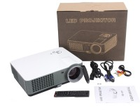 IBS 2200 Lumens Mini LED RD-801 TV HDMI Multimedia Smart Lcd Video Home Theater 1080P Movie USB*2 HDMI*2 Cinema Digital Media Player 640*480 Support 720P 1000:1 16:9/4:3 100W 50000 Hours Life 5 Inch Displays Screen 50-140 Inch Portable Projector (White, B