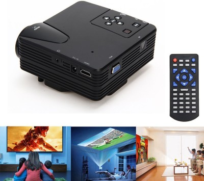 Wonder World ® LED Projector USB/AV/SD/HDMI/VGA Input Portable Projector (Black)
