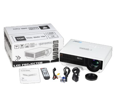 Glimsonic V310 Portable Projector (White, Black)