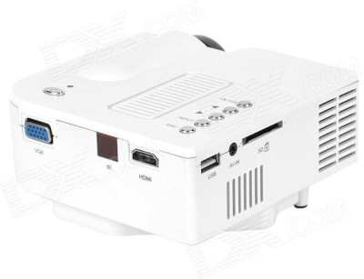 Crocon Portable Multimedia Connect with HDMI/VGA/AV/USB/SD. Portable Projector (White)