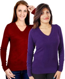 GnC V-neck Solid Women's Pullover