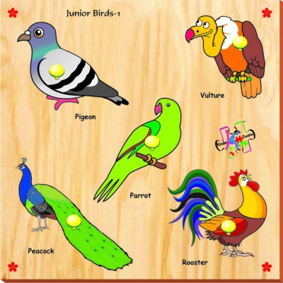 Kinder Creative Puzzles Kinder Creative Junior Birds with Knobs