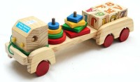 Luk Luck Educational Wooden Toy Pulling Alphabet Shape Truck (11 Pieces)