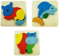 AND Retails Set Of 3 Wooden Cartoon Pattern Puzzle Blocks (13 Pieces)