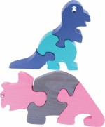 Enigmatic Woodworks Puzzles Enigmatic Woodworks Wooden Jigsaw Puzzle Dinosaur + Rhinoceros