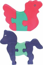 Enigmatic Woodworks Puzzles Enigmatic Woodworks Wooden Jigsaw Puzzle Hen + Horse