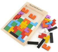 Kuhu Creations Wooden Brain Teaser Tangram Puzzle Toys For Kids. (38 Pieces)
