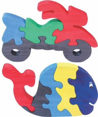 Enigmatic Woodworks Puzzles Enigmatic Woodworks Wooden Jigsaw Puzzle Bike + Whale
