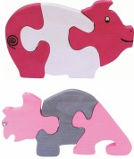 Enigmatic Woodworks Puzzles Enigmatic Woodworks Wooden Jigsaw Puzzle Pig + Rhinoceros