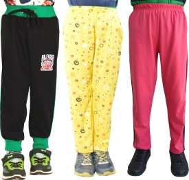 Shaun Printed Baby Girl's Black, Pink, Yellow Track Pants