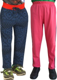 Shaun Printed Girl's Dark Blue, Pink Track Pants