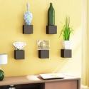 Home Sparkle Set Of 5 Cubes MDF Wall Shelf (Number Of Shelves - 5, Black)