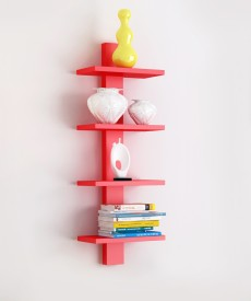 The New Look Tier Red Wooden Wall Shelf