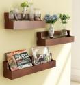 Home Sparkle Set Of 3 Pocket MDF Wall Shelf (Number Of Shelves - 3, Brown)