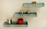 Logam Metal Sky Blue ( Set Of Three) Iron Wall Shelf (Number Of Shelves - 3, Blue)