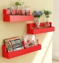 Home Sparkle Set Of 3 Pocket MDF Wall Shelf (Number Of Shelves - 3, Red)