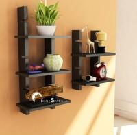 Home Sparkle Adjustable Ladder Style Wooden Wall Shelf (Number Of Shelves - 3, Black)