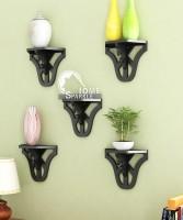 Home Sparkle Set Of 5 Carved MDF Wall Shelf (Number Of Shelves - 5, Black)