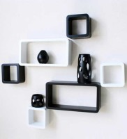 Artesia Wooden Wall Shelf (Number Of Shelves - 6, Black, White)