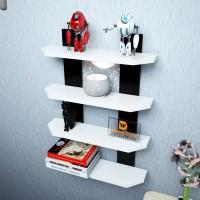 DriftingWood Ladder Shape Wooden Wall Shelf (Number Of Shelves - 4, Black, White)