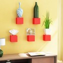 Home Sparkle Set Of 5 Cubes MDF Wall Shelf (Number Of Shelves - 5, Red)