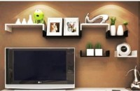 Onlineshoppee Wooden Wall Shelf (Number Of Shelves - 6, Black, White)