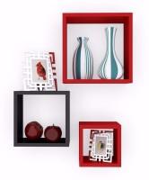 Craft Echo Square Shape Wall Shelves Set Of 3 MDF Wall Shelf (Number Of Shelves - 3, Red)