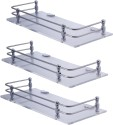 Dolphy Set Of 3 Frosted Acrylic Stainless Steel, Glass Wall Shelf (Number Of Shelves - 1, Clear)