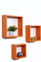 Importwala Orange Cube Wall Shelves-Set Of 3 MDF Wall Shelf (Number Of Shelves - 3, Orange)
