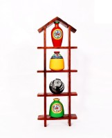 NG Art Ventura Hut Shaped Frame Unit With Four Elegant Pots Wooden Wall Shelf (Number Of Shelves - 4, Multicolor)