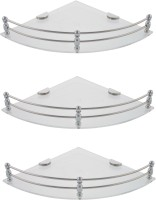 Dolphy Corner 7x7 Inch-Set Of 3 Microfibre, Stainless Steel Wall Shelf (Number Of Shelves - 0, Silver)