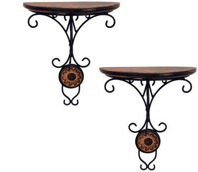 Desi Karigar Wooden, Iron Wall Shelf