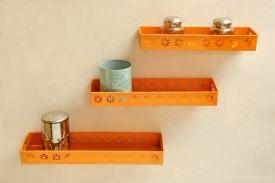 Logam Metal Orange ( Set of Three) Iron Wall Shelf