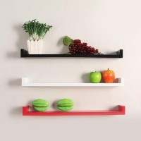 Bright Wooden Wall Shelf (Number Of Shelves - 3, Red, Black, White, Green)