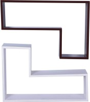 Dcjc Dcjc Tetris Shelf Black & White 2 - Set Of 2 MDF Wall Shelf (Number Of Shelves - 2, Multicolor)