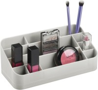 InterDesign Clarity Cosmetic Organizer For Vanity Cabinet To Hold Makeup, Beauty Products, Lip Sticks - Light Gray Plastic Wall Shelf (Number Of Shelves - 14)