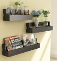 Home Sparkle Set Of 3 Pocket MDF Wall Shelf (Number Of Shelves - 3, Black)
