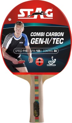 Stag Combi Carbon Gen 2 With Deluxe Case Flat Grip Unstrung Table Tennis Racquet (Red, Black, Weight - 80 g)
