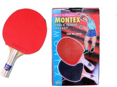 Montex Ascot (Pair of 2) Table Tennis Racquet (Red, Black, Weight - 400 g)