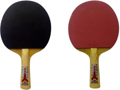 Facto Power Pair of Table Tennis Racquet (Red, Black, Weight - 350 g)