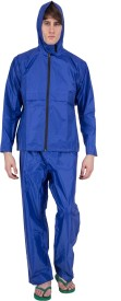 Asvina Blue Color With Pant Solid Men's Raincoat