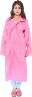 Bs Spy 2 Piece Women'S Long Rain Coat With Cap Solid Women's Raincoat