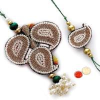 Tradition India Design Bhaiya Bhabhi Rakhi Multicolor, 2 Designer Rakhi, 1 Pack Roli, 1 Pack Rice