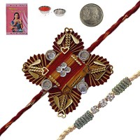 Little India Design Designer Rakhi Multicolor, 1 Designer Rakhi, 1 Pooja Coin, Roli, Rice, 1 Greeting Card