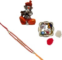 ECraftIndia Design Designer Rakhi Multicolor, 1 Designer Single Rakhi, 1 Decorative Pooja Plate, 1 Lord Ganesha Playing Flute