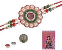 Little India Design Designer Rakhi (Multicolor, 1 Pearl Rakhi, 1 Pooja Coin, 1 Pack Roli, 1 Greeting Card, 1 Pack Rice) - RAKE9EW47FB7SB2J