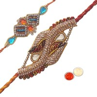 Tradition India Design Designer Rakhi Multicolor, 2 Fancy Rakhi, 1 Pack Roli, 1 Pack Rice