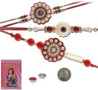 Little India Design Designer Rakhi (Multicolor, 3 Pearl Rakhees, 1 Pooja Coin, 1 Pack Roli, 1 Greeting Card, 1 Pack Rice)