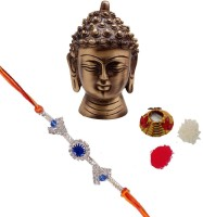 ECraftIndia Single Rakhi With Metal Meditating Buddha Head And Roli Tikka Matki Design Designer Rakhi (Multicolor, 1 Designer Single Rakhi, 1 Roli Tikka Matki, 1 Metal Meditating Buddha Head)