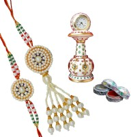 ECraftIndia Rakhi Set For Bhaiya-Bhabhi With Marble Table Pillar Clock & Roli Tikka Design Designer Rakhi Multicolor
